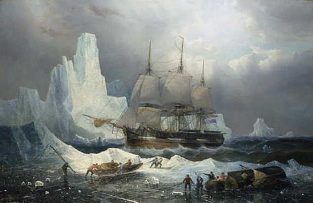 Francois Etienne Musin's 1846 painting of HMS Erebus in the North West Passage